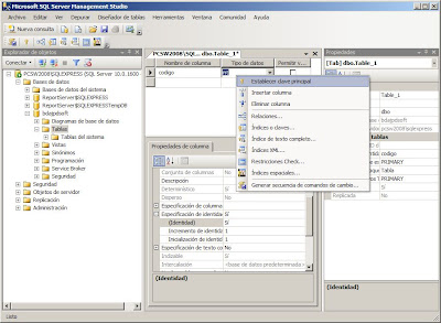 SQL Server Management Studio, crear base de datos y tabla en SQL Server Express 2008