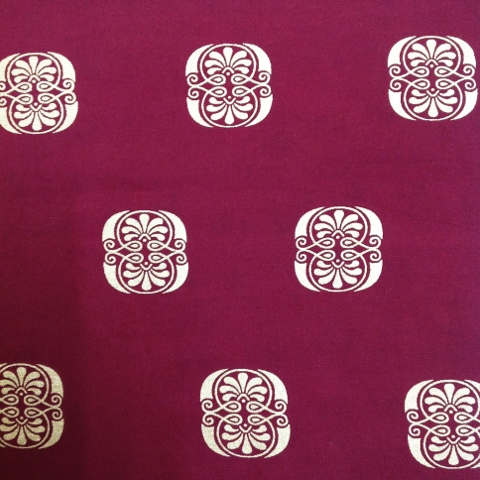 Lovely damask print organic fabric with metallic print