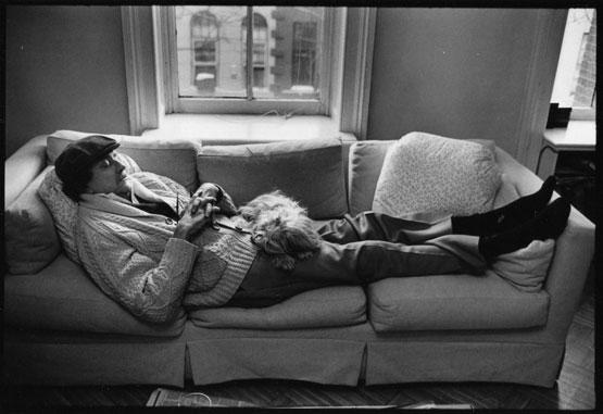 Kurt Vonnegut with his dog Pumpkin