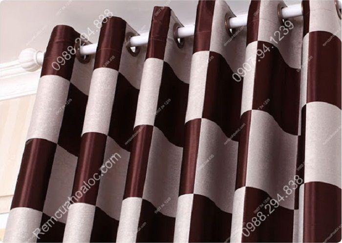 Rèm cửa đẹp cao cấp họa tiết bàn cờ 6