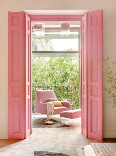 Porta colorida cor de rosa