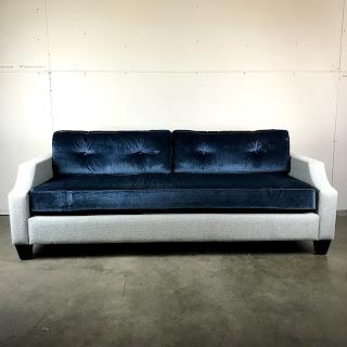 Blue & Grey Track Arm Sofa