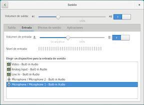 Configurar el hardware en GNOME. El sonido. Entrada.