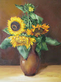 słoneczniki, olej, płótno, 50x70cm