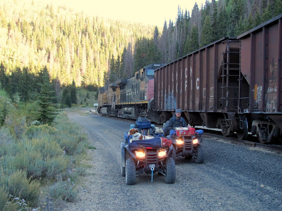 A coal train was blocking our railroad crossing, so we had to go around it closer to Clear Creek