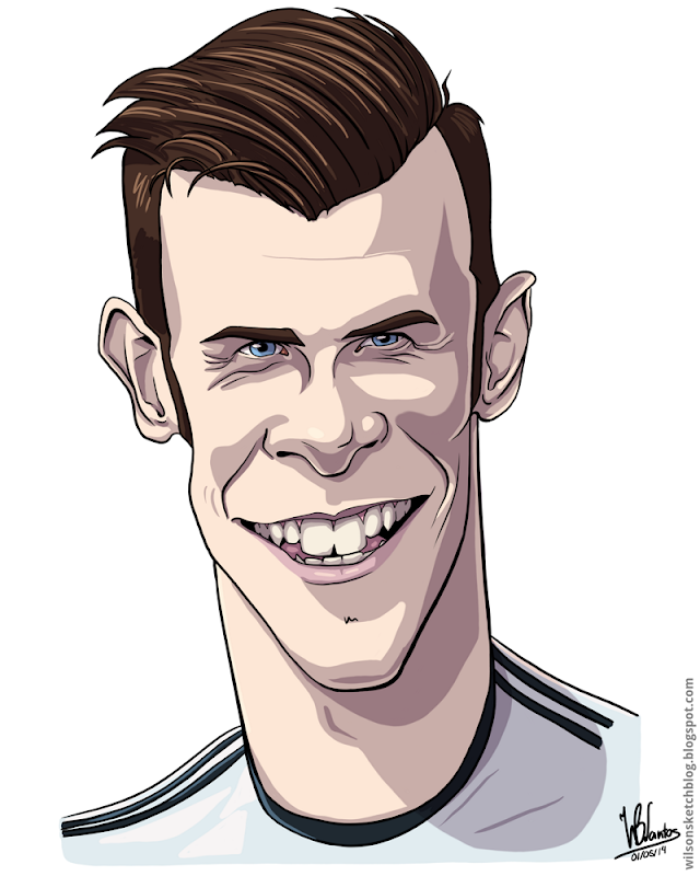 Cartoon caricature of Gareth Bale.