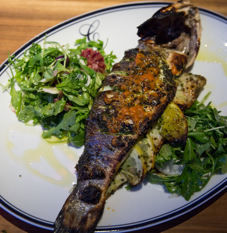 overhead photo of Whole Roasted Branzino
