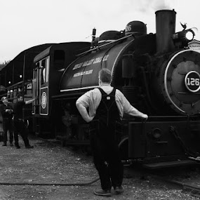 Filling the boiler by Damon Hensley - Transportation Trains ( coal, steaming locomotive, maryland, train, walkersville rail road )