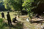 Tumbuhkan Semangat Gotong-royong Babinsa Koramil 1902/PLD Kodim 0619/PWK Bersihkan TPU