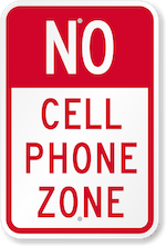 No cell phone zone sign k 0410