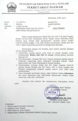 Surat Edaran Pemerintah Provinsi Jawa Tengah tentang pelaksanaan shalat Iedul Fitri 1441 H dalam situasi darurat Covid-19