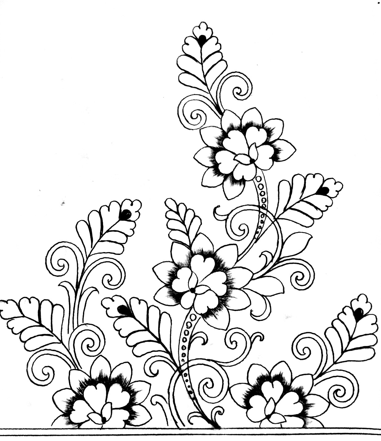 How to draw an easy hand embroidery flowers designs/hand embroidery flowers designs images free download