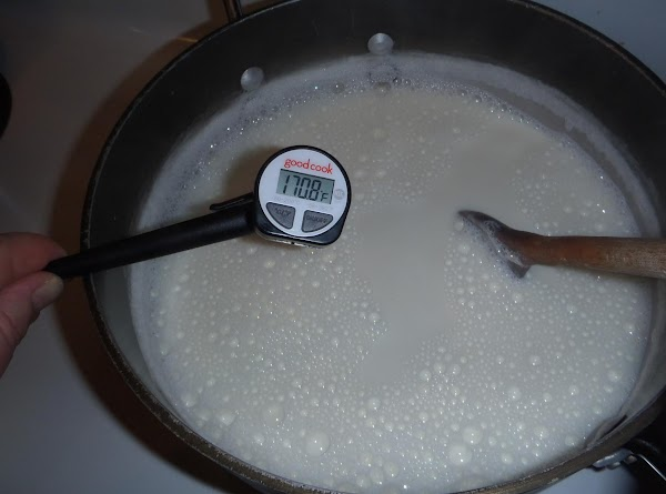 Combine milk and nonfat milk powder.  Heat on stove on low (electric stove...