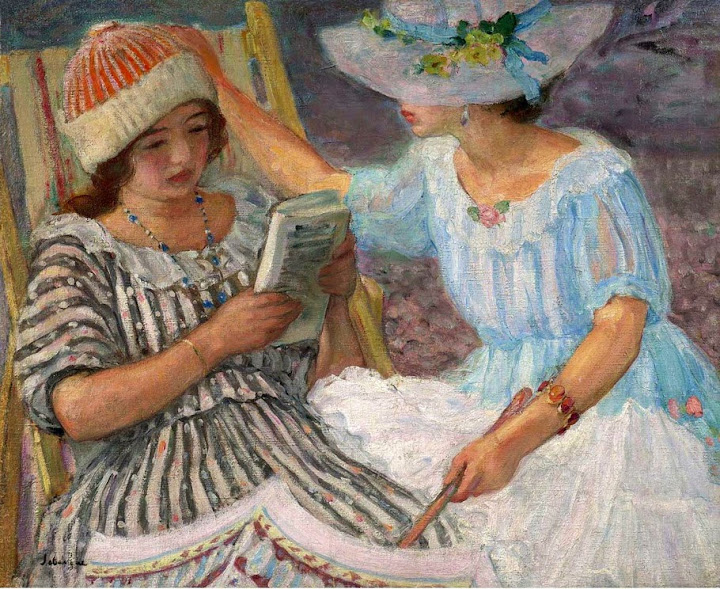 Henri Lebasque - Marthe and Nono -1917