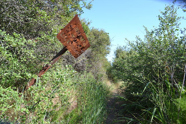 rusted sign hanging over the thin trail