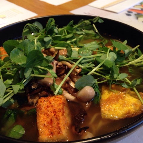 Masai ramen from Wagamama, Richmond - Japanese omelette, crispy coated silken tofu and mushrooms all in a veggie broth with noodles.