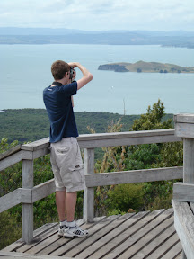 Douglas taking some pictures on the summit of Rangitoto Island