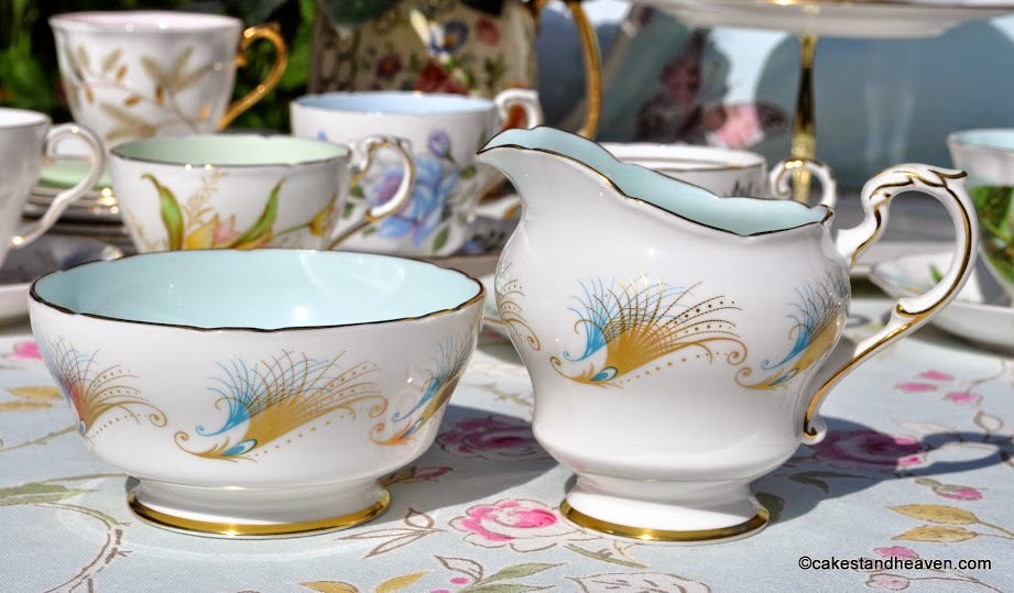 Paragon turquoise and gold milk jug and sugar bowl