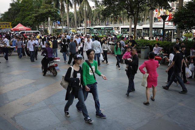 busy sidewalk in Zhuhai, Guangdong