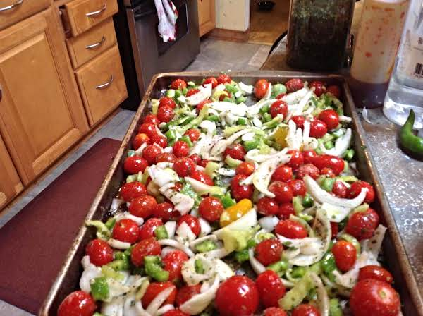 Garden Roasted Tomatoes With Peppers & Onions Recipe