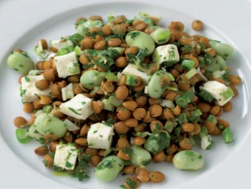 Lentil, fava bean, and feta salad