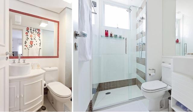 Arquitetando meus sonhos Pastilhas no Banheiro  Se jogue nos detalhes! -> Banheiro Branco Com Pastilhas Vermelhas