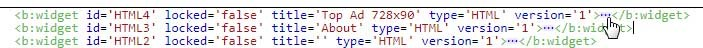 быстрый поиск кода виджета blogger