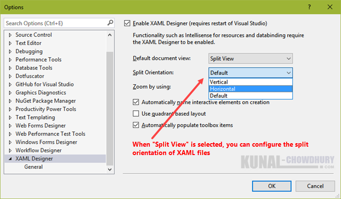 How to change the split orientation of XAML files in Visual Studio 2015 (www.kunal-chowdhury.com)