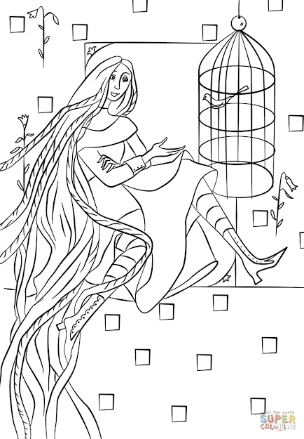 Click The Rapunzel In Her Tower Coloring Pages To View Printable Version Or  Color It Online Patible With Ipad And Android Tablets