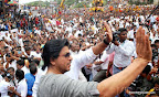 Bollywood super star Shahrukh Khan arrived at Ghatkopar west in Mumbai on Thursday 29, 2013 for celebration for 'Janmashtami' organised by Ram Kadam to mark the birth of Hindu god Lord Krishna. Devotees take part in the dahi-handi celebrations during which people build a human pyramid until the pyramid is tall enough to enable the topmost person to reach an earthenware pot filled with milk, curds, butter, honey and fruits and which is suspended at a height of between 20 to 40 feet (about 6 to 12 meter). PIC/SHADB KHAN