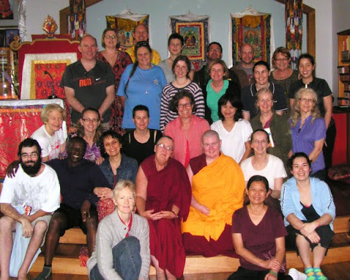"""During Langri Tangpa Centre's first Great Prostratethon, which raised AUD$12,000 in one day, participants did over 12,000 prostrations and numerous recitations of the """"Confession to the 35 Buddhas"""" and """"Praises to the 21 Taras,"""" 2011. Photo by Miffi Maxmillion."""