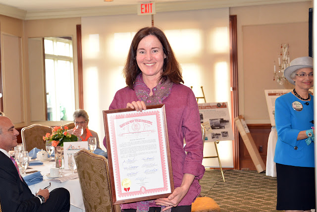 President ____ accepted the Sylvan Lake Garden Club Community Achievement Award celebrating their 7th anniversary, 2014
