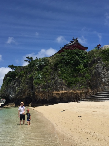Naminoue Beach in Naha is the only swimming beach in the city, overlooked by a gorgeous temple