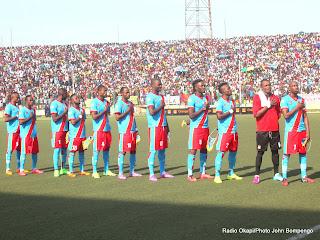 Les Léopards de la RDC lors de la défaite contre les Eléphants de la Côte d'Ivoire au stade Tata Raphael le 11/10/2014 à Kinshasa, score: 1-2. Radio Okapi/Ph. John Bompengo