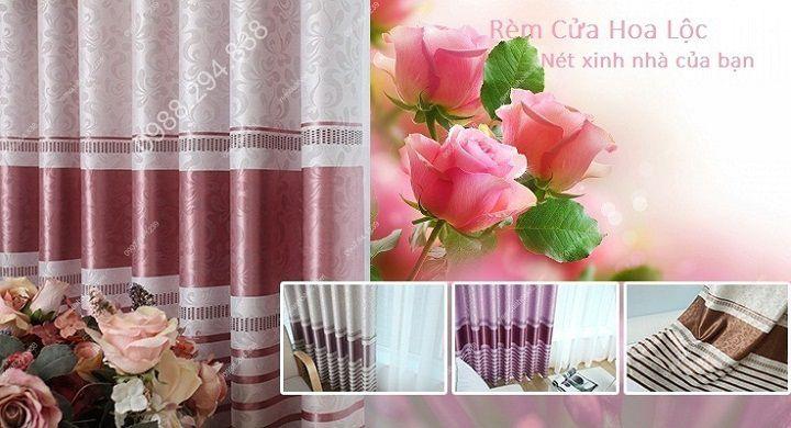 Rèm cửa cao cấp đẹp một màu có diềm hồng 12