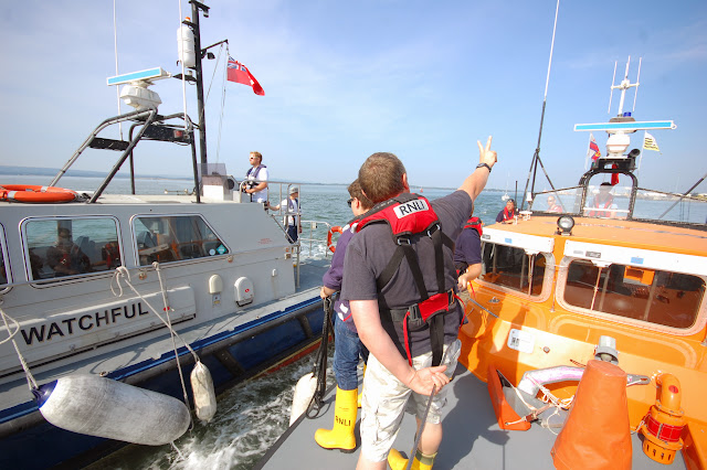 Poole crew members onboard the Tyne class lifeboat providing the distance from the 'casulaty' vessel during an exercise in Poole Harbour Photo: RNLI Poole/Dave Riley