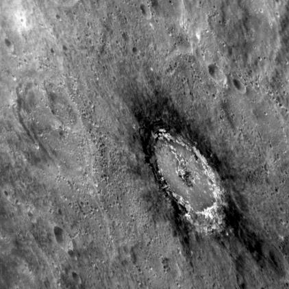 halo escuro na cratera Basho