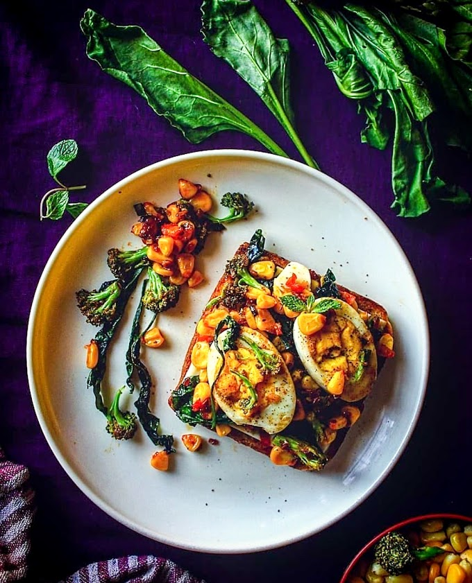 Egg Toast/ Toasted Bread With Boiled Eggs, Spinach, Broccoli and Sweetcorn Recipe | Breakfast Care