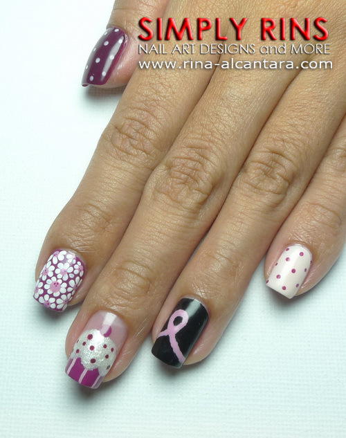 Breast Cancer Awareness Nail Art Design