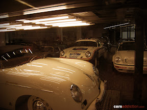 The the area used to restore and maintain Porsche's fleet of race and production cars