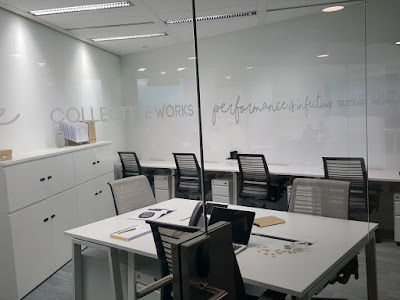 One of the many offices within Collective Works. All offices come with glass walls and similar furniture but are of different sizes to accommodate different business requirements.