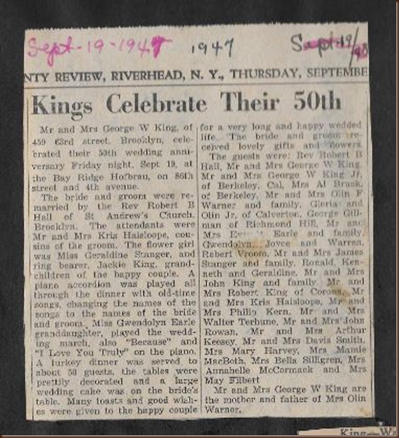 King George Sarah 50th anniversary clipping