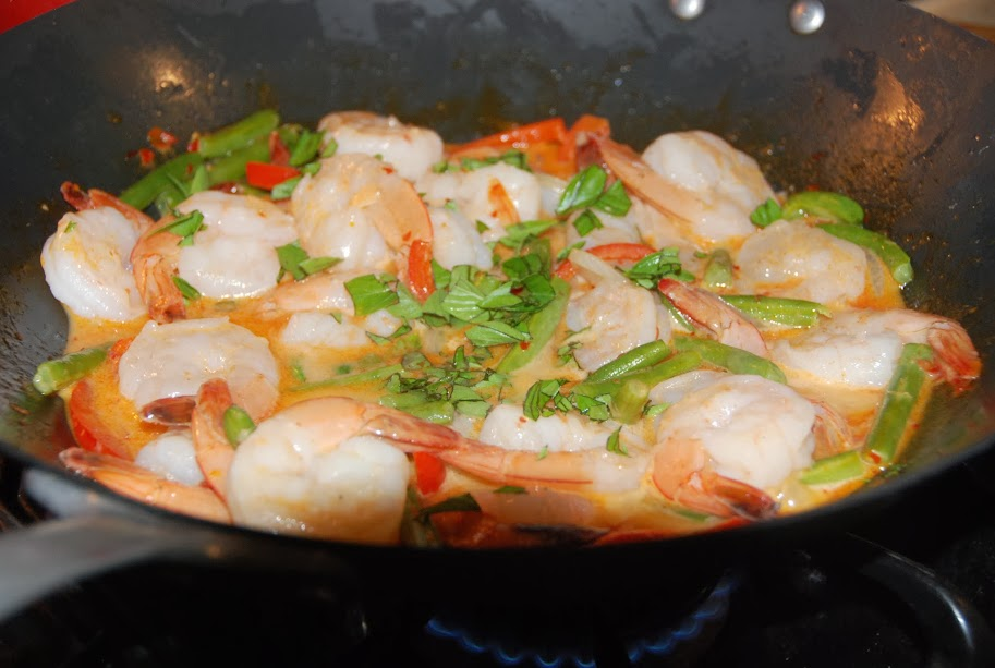 Thai Red Curry with Shrimp in wok