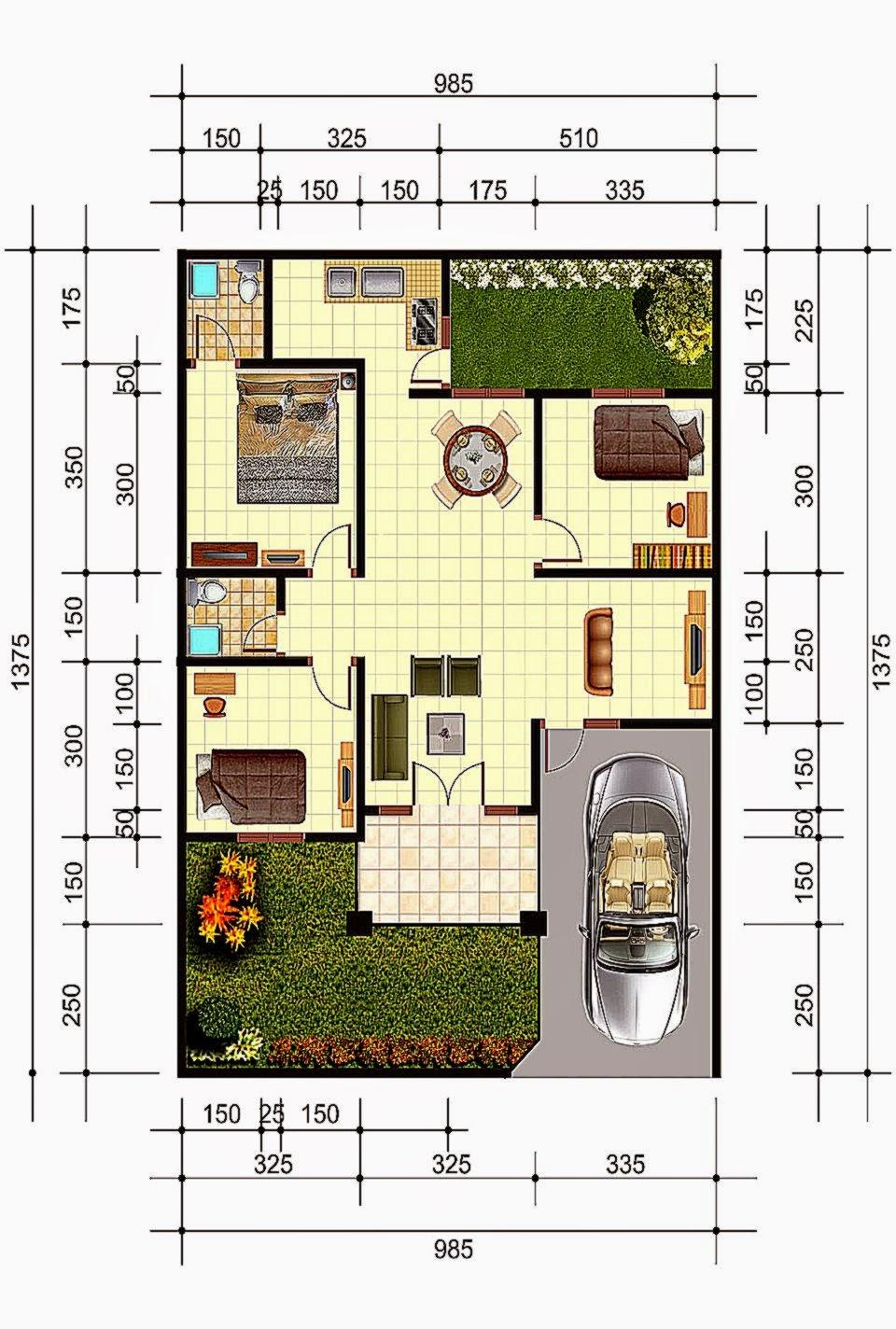 Desain Dan Denah Rumah  Minimalis Gallery Taman Minimalis