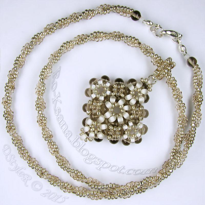"""SilverySnowdrops"" Beaded pendant   RAW & 2-beads Ndebele rope Кулон ""в крестик"" и спиральный жгут ндебеле"