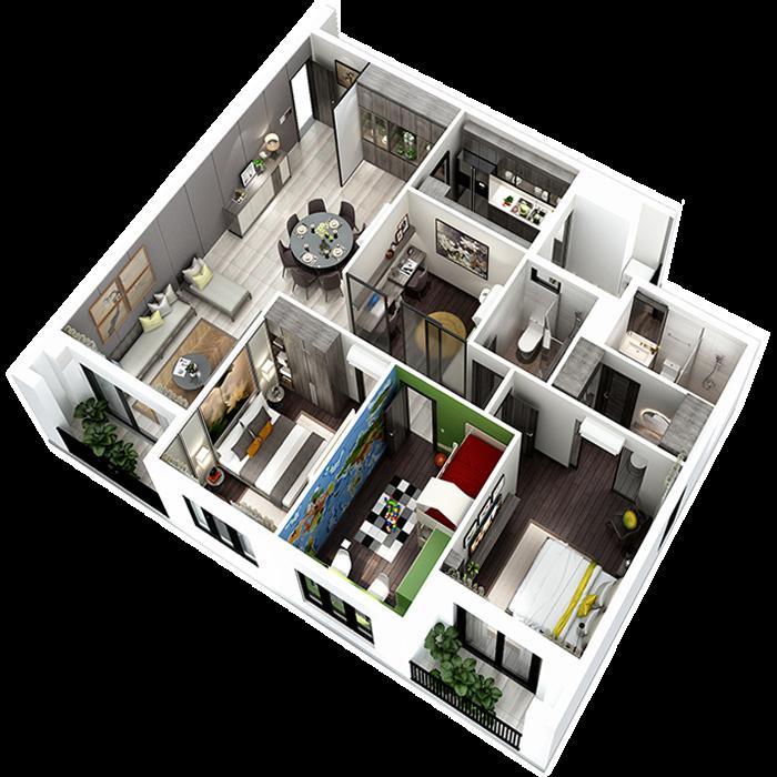 căn hộ 123.65m² - 3 Phòng ngủ