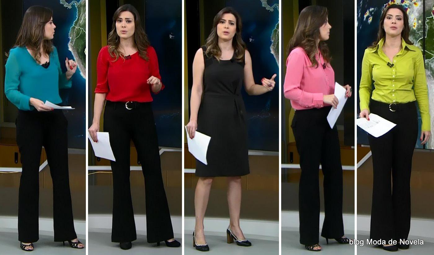 moda do programa Jornal Hoje - looks da Michelle Loreto dias 14 a 18 de julho