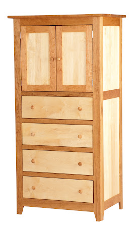 """33"""" x 70"""" x 24"""" Shaker Armoire in Cherry and Hard Maple with Oil & Wax Finish"""