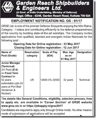 GRSE Employment Notification 2017 www.indgovtjobs.in