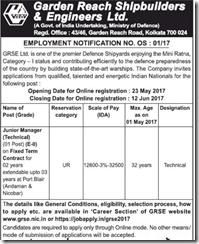 GRSE Employment Notification 2017 www.indgovtjobs.in